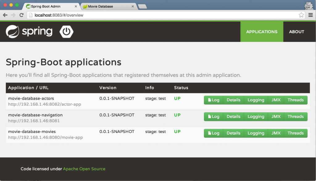 Screenshot Spring Boot Admin