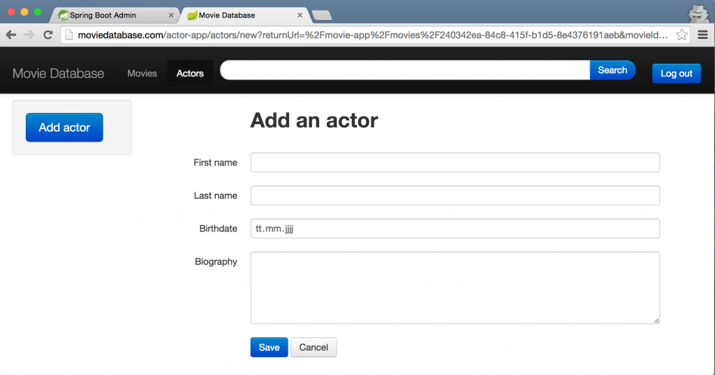 Screenshot add actor