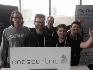 The codecentric team at Elastic{ON}, together with Elastic CEO Steven Schuurman.
