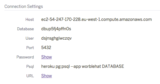 Connection Details of a Heroku Postgres Database