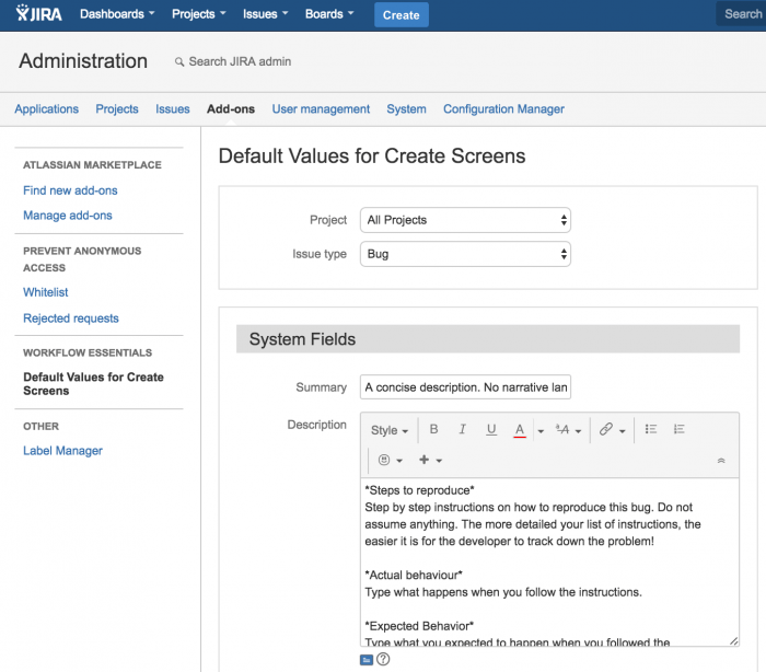 Default value for create screen Screenshot