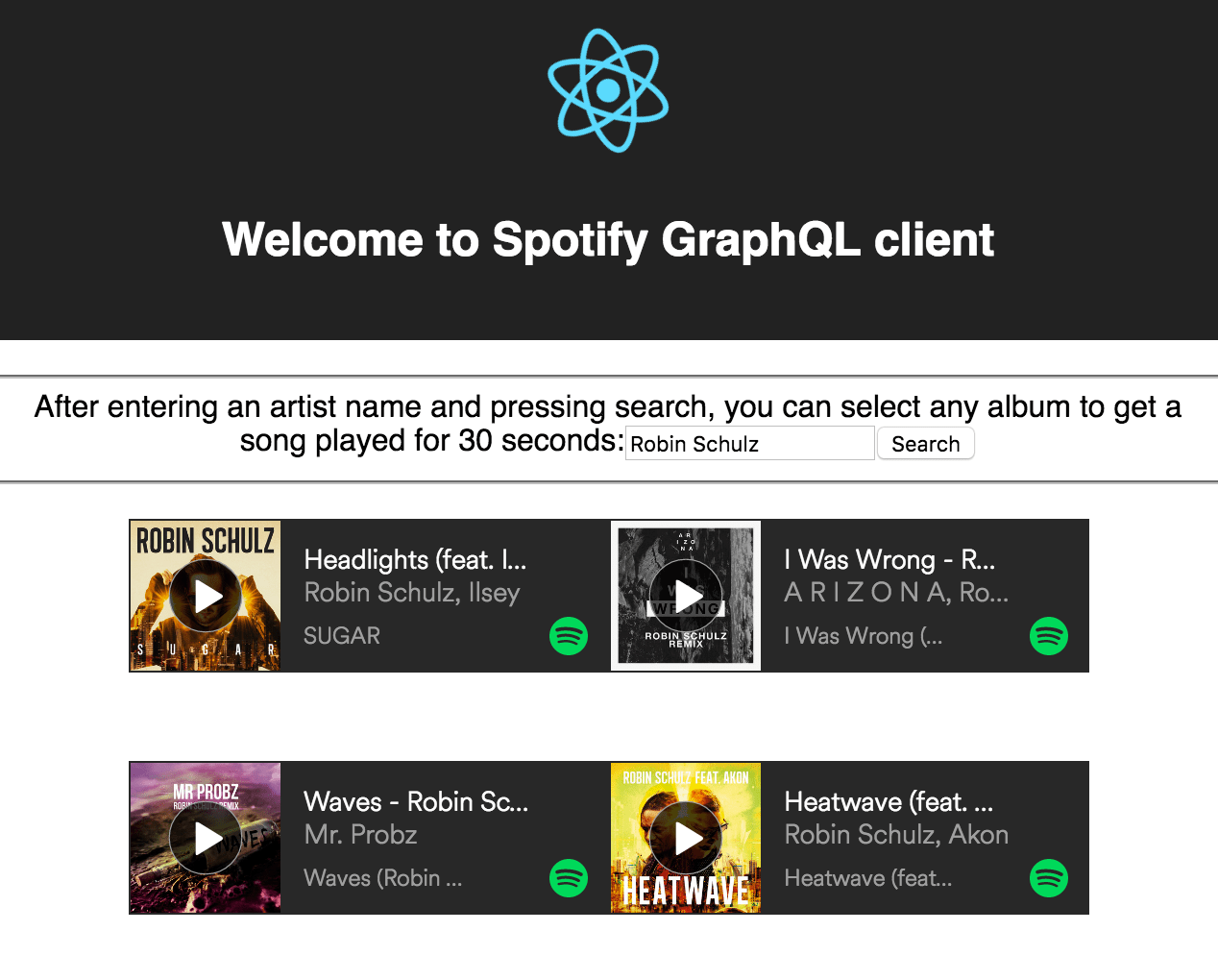 simple spotify client screenshot