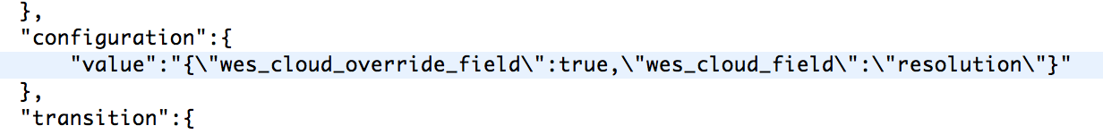snippet of the request, showing json embedded as string in json