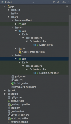 Existing Android App project structure - Image