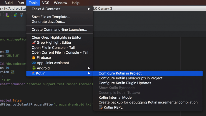 Configure Kotlin in Project - Image