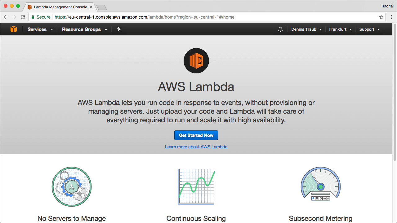 AWS Lambdas Getting Started Dashboard