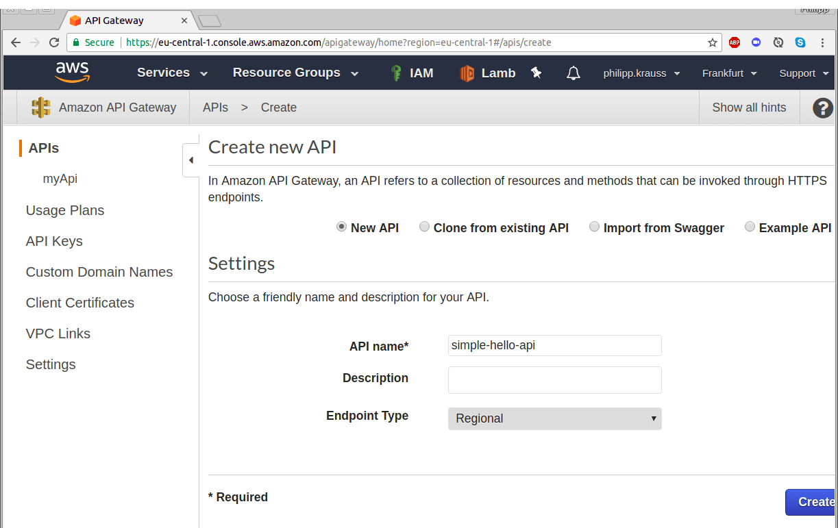 create API with AWS API Gateway