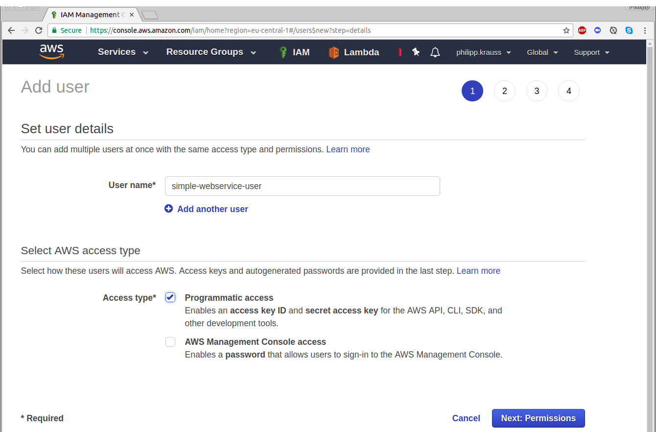creating AWS credentials