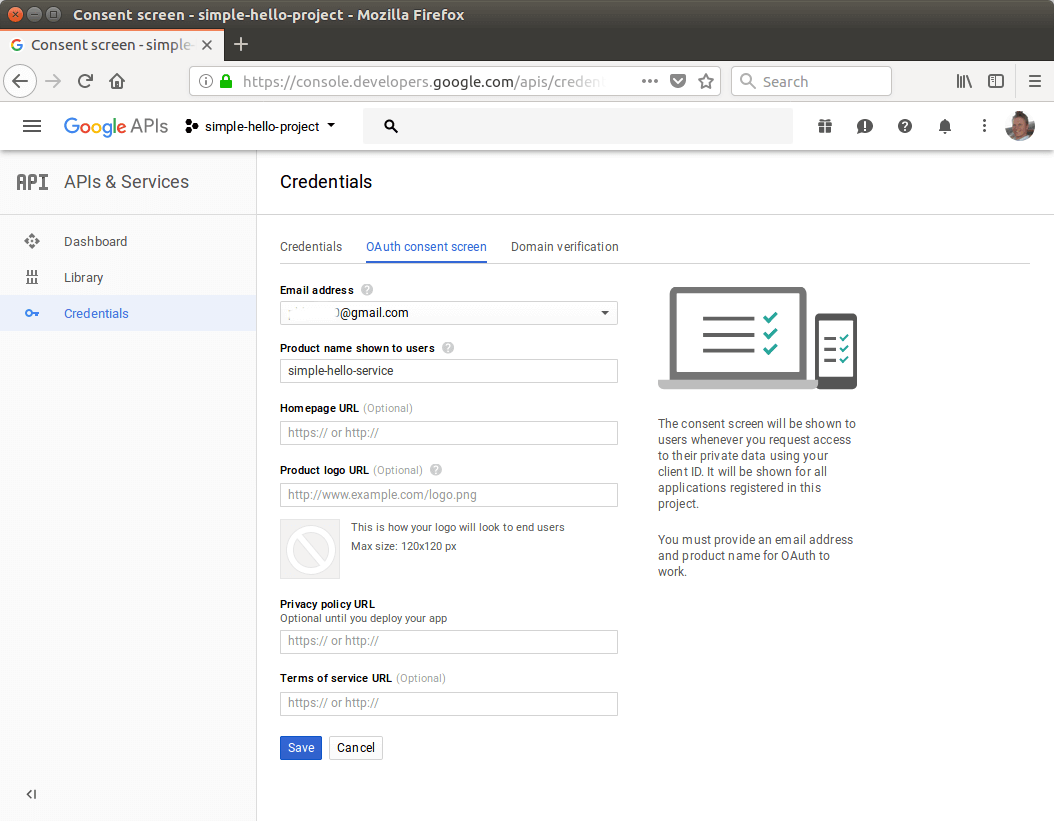 Configuring Google API credentials