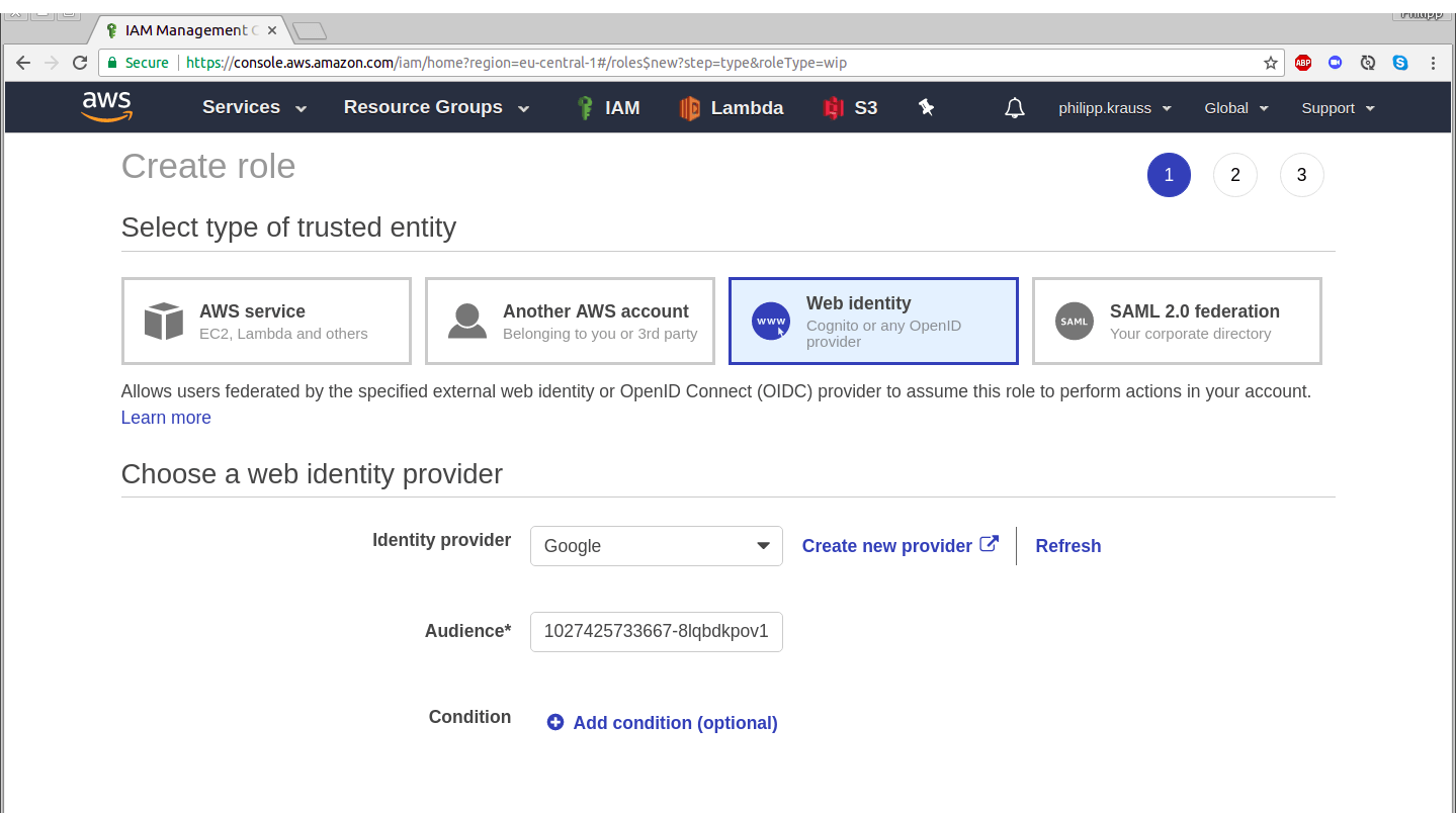 Creating an AWS web identity role