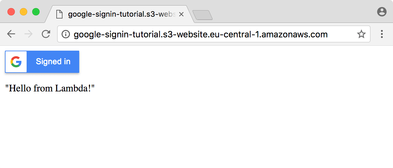"""The Sign-In page displays the message """"Hello from Lambda!"""""""