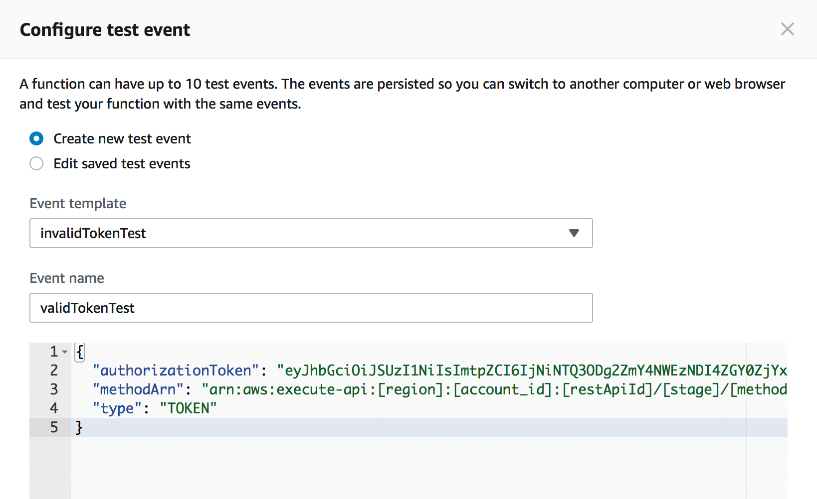 Configuring a test event with a valid token