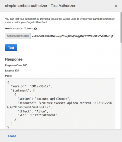 Testing the AWS Lambda authorizer with an authorization header