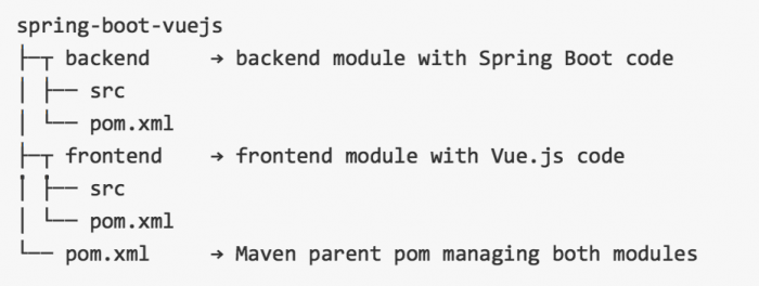 spring boot vuejs example projects structure