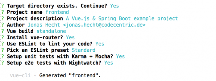 spring boot vuejs vuecli init command resulting in questions