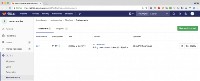 GitLab Environments overview