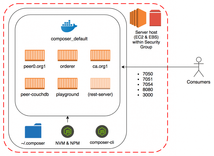 Hyperledger Fabric Test network architecture on AWS EC2 instance using fabric-dev-servers