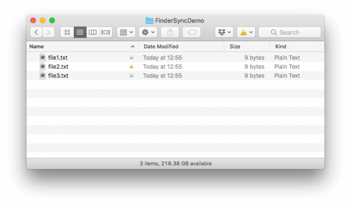 Finder with file sync statuses