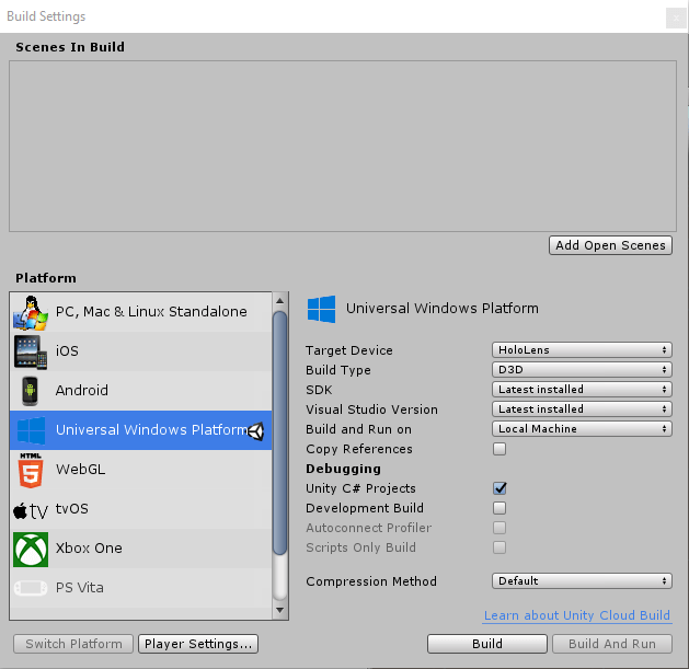 Hololens BuildSettings