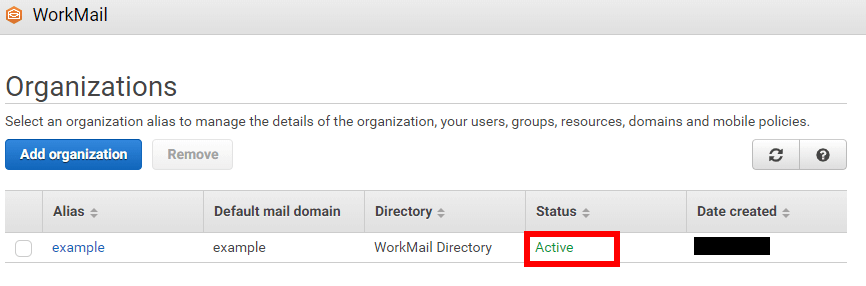 Workmail active