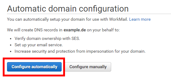 Workmail Domain Configure automatically
