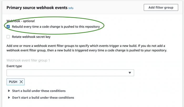 Configure CodeBuild project webhook filtering