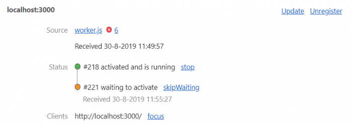 Chrome service workers status overview