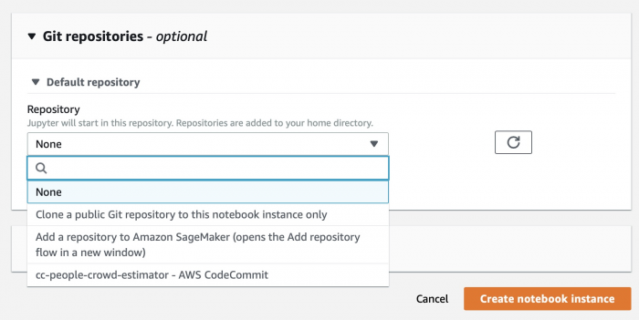 Using Git repositories in AWS Sage maker for data delivery