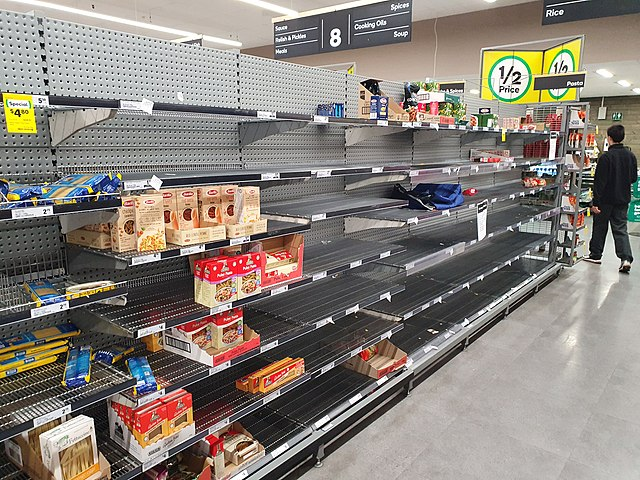 Empty pasta shelves at a supermarket during COVID-19 crisis
