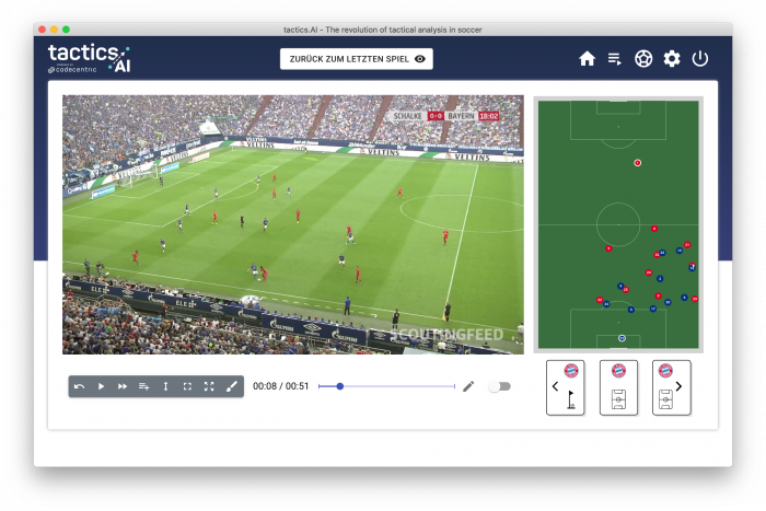 Shows the view between the video footage and the tactics board