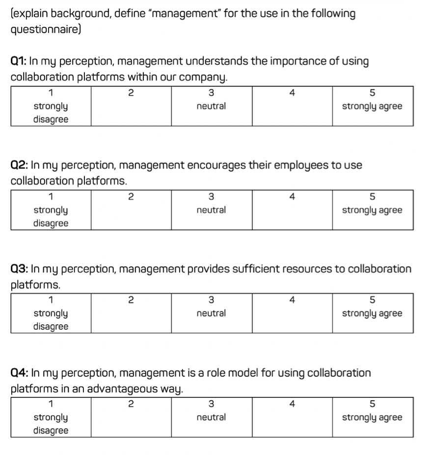 Collaboration tool management support score questionnaire