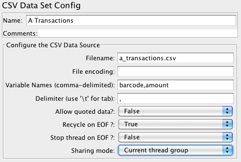 CSV Data Set Config set up